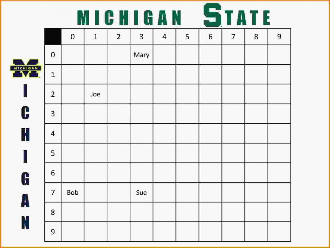 football squares template excel