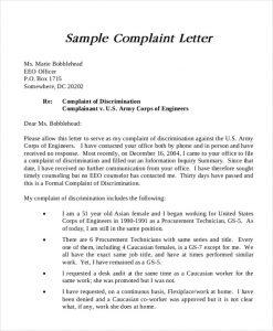 formal complain letters example formal complaint letter