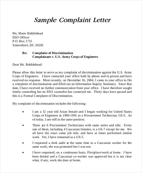 formal complain letters