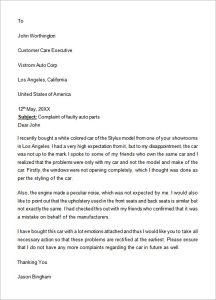 formal complain letters formal complaint letter