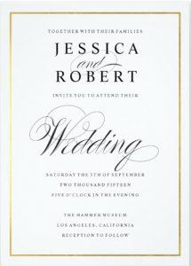 formal invitation template elegant script and gold border wedding invitation