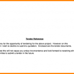 formal report template example of a tender letter declining submit tender