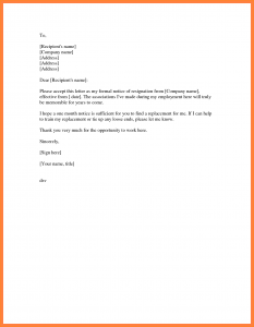 formal resign letter template month notice resignation simple resignation letter month notice