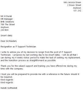formal resign letter template it support technician resignation letter