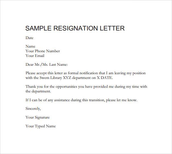 formal resignation letter
