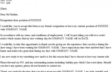 formal resignation letter formal resignation letter weeks notice