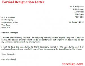 formal resignation letter formal resignation letter example