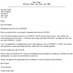 formal resignation letter formal resignation letter with reason