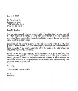 format of business letter business letter sample