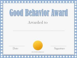 free award templates good behavior award