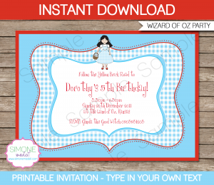 free baby shower invitations templates pdf printable wizard of oz invitation template
