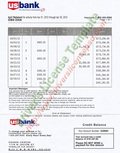 free bank statement template
