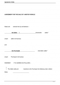free bill of sale template for car agreement of sale