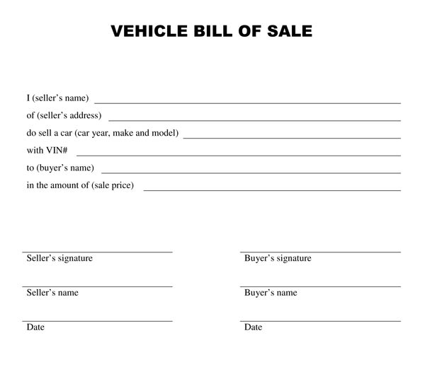 free bill of sale template for car