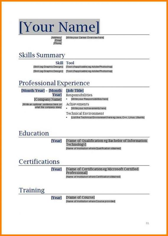 Free Blank Resume Templates | Template Business