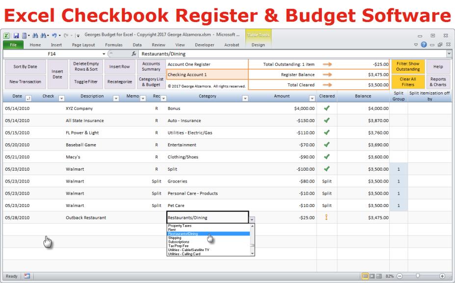 free checkbook register software