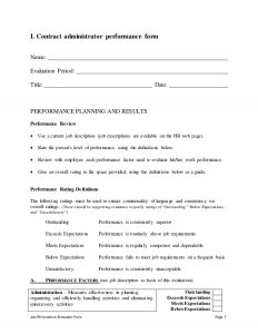 free checklist template contract administrator performance appraisal