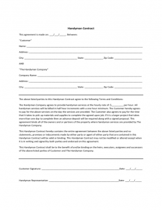 free checklist template handyman contract sample l