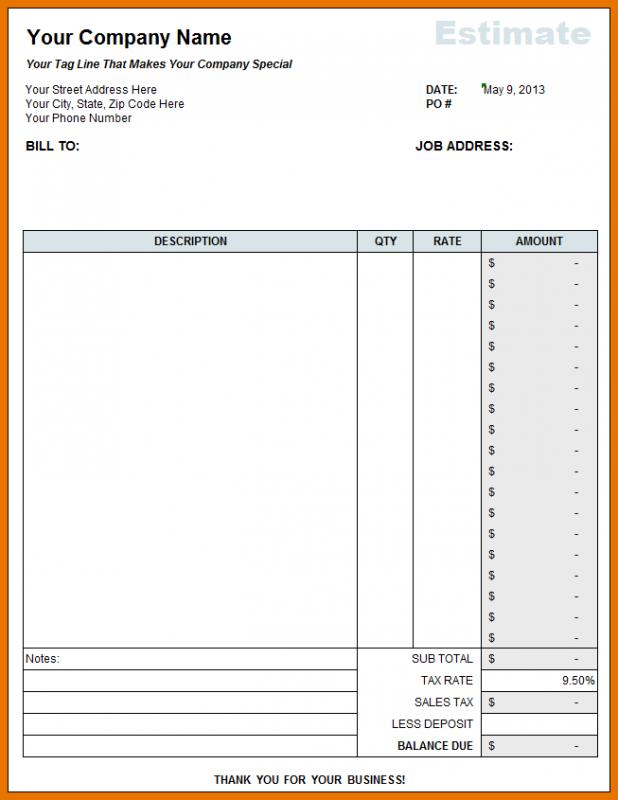 Free Construction Estimate Template Excel | Template Business