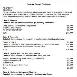 free construction estimate template pdf repair estimate template