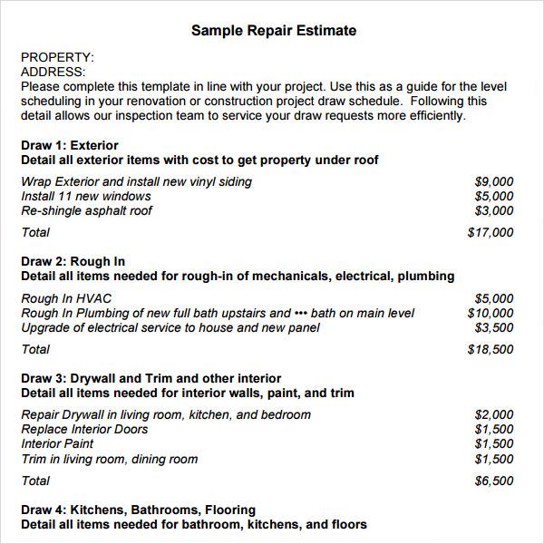Free Construction Estimate Template Pdf   Template Business