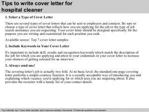 free cover letter samples hospital cleaner cover letter