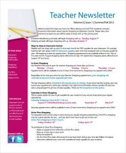free editable newsletter templates for teachers blank teacher newsletter template