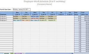 free employee schedule template labor schedule template iamge