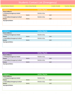 free employee schedule template others template students contact list template emergency