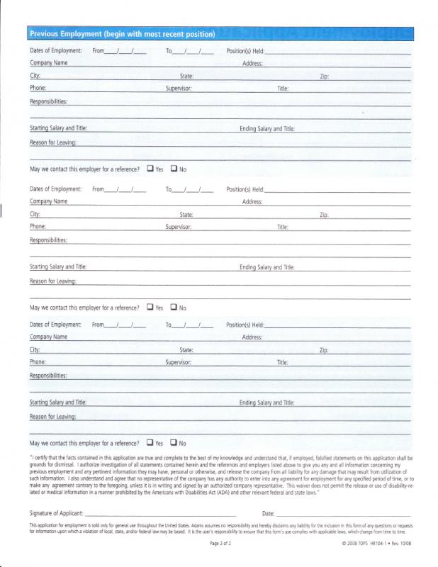 free employment application