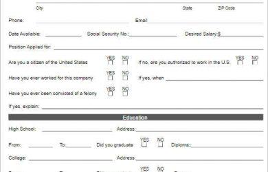 free employment application pdf free job application templates
