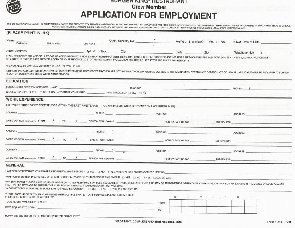 free employment application pdf
