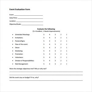free estimate forms event evaluation to download
