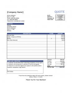 free estimate forms standard price quote template l