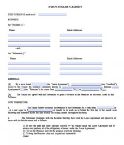 free eviction notice form indiana sublease agreeement x