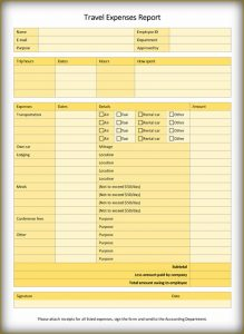 free expense report template travel expense report