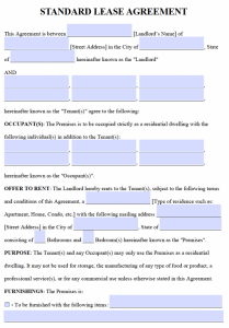 free lease agreement template word standard residential lease agreement form x