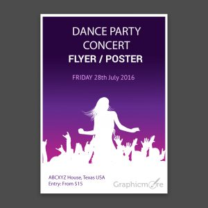 free letterhead template concert party flyer or poster with gradient background design free vector file