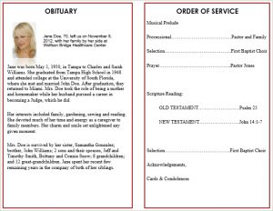 free memorial service program template ext product