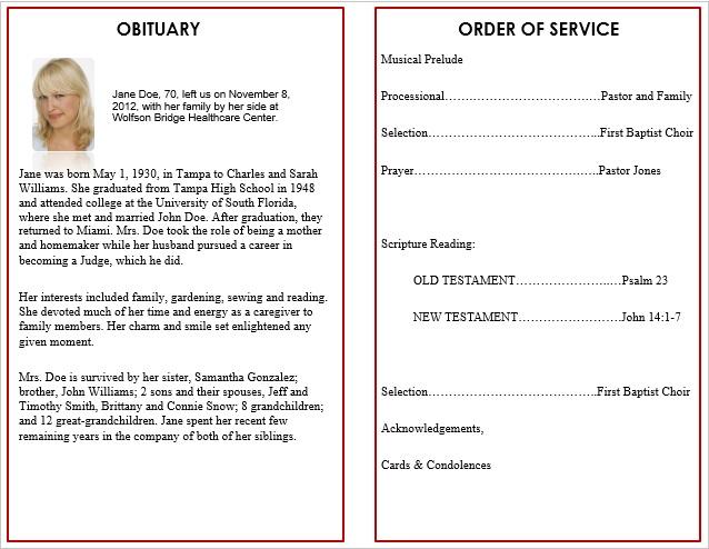 free memorial service program template