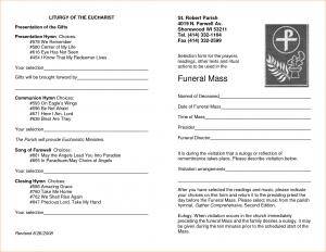 free memorial service program template funeral mass program