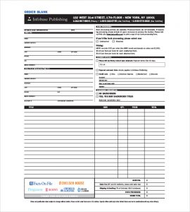 free order form template free blank order form template