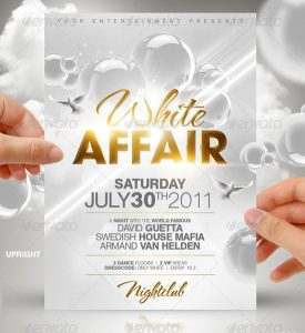 free party flyer templates white affair party flyer template