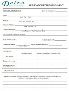 free printable application for employment template simple job application form template