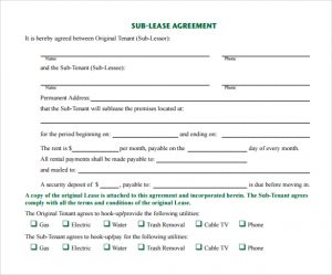 free printable basic rental agreement simple sublease agreement template
