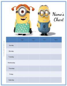 free printable behavior charts behavior chart minions
