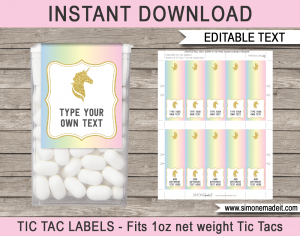 free printable candy bar wrappers templates unicorn favors tic tac labels printable template