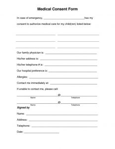 free printable child medical consent form free medical consent form template