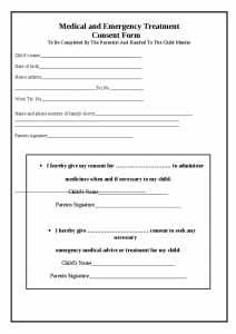 free printable child medical consent form medical permission form