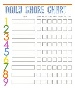 free printable chore chart templates daily family chore chart template